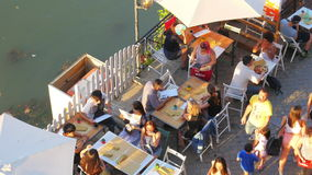 ROME - ITALY, AUGUST 2015: people travel on tiber river stock video