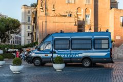 Police car in the street of Rome. Rome, Italy - August 22, 2016: Police car in the street of historical centre of Rome stock photography