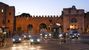 ROME - ITALY, AUGUST 2015: roman walls at night stock footage