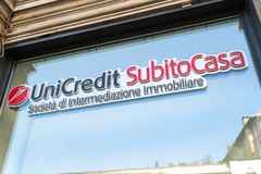 UniCredit Subito Casa estate agency. Rome, Italy - August 10, 2018: Signage of UniCredit Subito Casa, real estate brokerage company of UniCredit S.p.A. Italian royalty free stock images