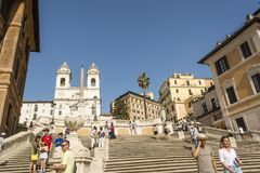 ROME, ITALY - AUGUST 30, 2017 - Spanish steps on Piazza di Spagna in Rome Stock Photo