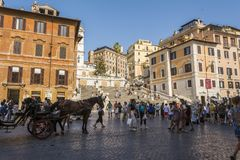 ROME, ITALY - AUGUST 30, 2017 - Spanish steps on Piazza di Spagna in Rome Royalty Free Stock Photos