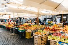 Street market with fruits in Rome. royalty free stock photography