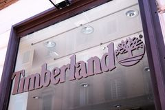 Timberland store in Rome stock images