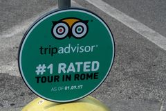 TripAdvisor emblem. Rome, Italy - August 10, 2018: TripAdvisor #1rated tour in Rome logo. TripAdvisor, Inc. is an American travel and restaurant website company stock image