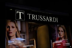Trussardi store window display. Rome, Italy - August 11, 2017: Trussardi store window display. Italian fashion house, founded in 1911 Royalty Free Stock Image