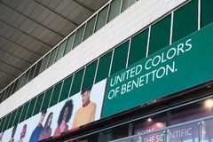 United Colors of Benetton shop. Rome, Italy - August 15, 2017: United Colors of Benetton store. Benetton Group S.r.l. is a global Italian fashion brand Royalty Free Stock Images