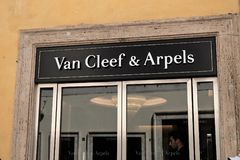 Van Cleef & Arpels shop. Rome, Italy - August 15, 2017: Van Cleef & Arpels store. Van Cleef and Arpels is a French jewelry, watch, and perfume company Royalty Free Stock Photography