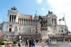 National Monument to Victor Emmanuel II, Rome, Italy. Rome, Italy - August 10, 2018: View of Altar of the Fatherland from Piazza Venezia. The monument is also stock photography