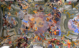Rome, Italy - beautiful basilica ceiling. ROme, ancient basilica painted ceiling, Italy, indoor, detail Stock Photo