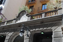 Rome, Italy. Beautifully decorated building with trees on the balcony in Rome, Italy Stock Images