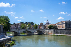 Rome, Italy. Bridge to Castel Sant`Angelo. Rome, Italy. Bridge to Castel Sant`Angelo viewed from the other side of the river Royalty Free Stock Images