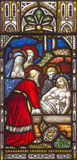 ROME, ITALY: The burial of Jesus on the windowpane of All Saints' Anglican Church by workroom Clayton and Hall Stock Photos