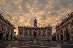 Rome, Italy: The Capitolium square in the sunrise Stock Images