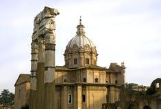 Rome italy church  saints martina luke   temple   castor Stock Photos