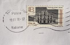Stamp of Italy. ROME, ITALY - CIRCA FEBRUARY 2018: a stamp printed by Italy showing Milan cathedral square Piazza del duomo - Milano Stock Image