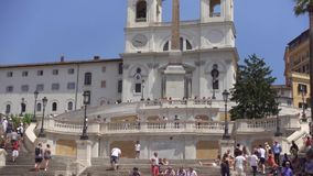 ROME, ITALY - CIRCA May 2018: Spanish Steps in Rome, Italy. European architecture Piazza di Spagna stock footage