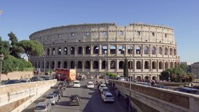 ROME, ITALY - CIRCA May 2018: Panorama of Colosseum in Rome, Italy. Ancient amphitheater Coliseum stock video footage