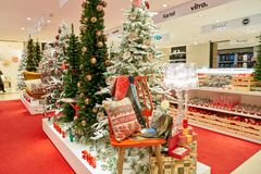 Christmas decorations. ROME, ITALY - CIRCA NOVEMBER, 2017: Christmas decorations on display at a second flagship store of Rinascente in Rome Royalty Free Stock Photos