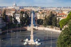 Rome, Italy cityscape. Piazza del Popolo Stock Photos