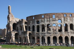 Rome Italy and colloseum. Rome, Italy, on February 26, 2017: Great Roman Colosseum Coliseum Colosseo royalty free stock image