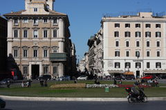 Rome Italy and colloseum. Rome, Italy, on February 26, 2017: iazza Venezia is the central hub of Rome stock photo