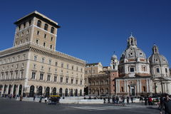 Rome Italy and colloseum. Rome, Italy, on February 26, 2017: iazza Venezia is the central hub of Rome stock images