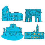 Rome Italy Colored Landmarks Stock Photos