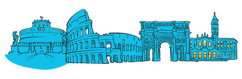 Rome Italy Colored Panorama Royalty Free Stock Photo