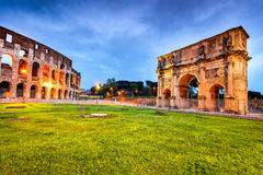Rome, Italy - Colosseum and Arch of Constantine Royalty Free Stock Photo