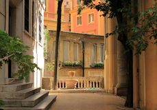 Rome, Italy, cozy court in Rome before sunset. Rome, Italy, cozy court in the old city before sunset royalty free stock image