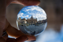 Rome Italy Daytime Vatican through Unique Perspective Glass Sphere Stock Photos