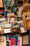 Rome, Italy - Dec 25, 2017 - Old books and notebooks on the mark. Rome, Italy - Dec 25, 2017 - Old photo cards and books on the amateur market in Rome stock photography