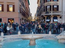 Tourists crowd at Spain square Rome christmas xmas holiday. Rome, Italy - Dec 2017: Tourists crowd at Spain square on christmas or xmas holiday royalty free stock photos