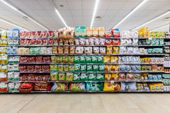 Food department for dogs and cats. Pets food shelves.