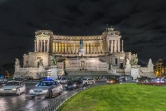 Vittorio Emanuele Monument, Rome, Italy. ROME, ITALY, DECEMBER - 2017 - Night scene exterior view of famous Vittorio Emanuele II monument conmemoraty building Stock Image