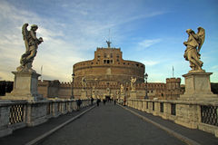 ROME, ITALY - DECEMBER 20, 2012: People on the bridge of Castel Sant'Angelo in Rome, Italy Royalty Free Stock Photography