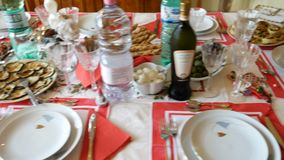 Set table appetizer for christmas at home. Rome, Italy - December 2017: set table appetizer for christmas at home stock video