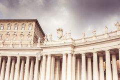 Rome, Italy, December 2018: Statues. Famous colonnade of St. Peter`s Basilica in Vatican, Rome, Italy stock photo