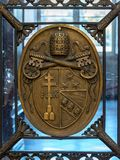 Rome, Italy. December 04, 2017: Vatican shield in the Vatican Mu stock image