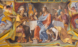 ROME, ITALY: The detail of vault fresco Mary Washes Jesus's Feet in church Chiesa di Santa Maria Maddalena Royalty Free Stock Photo