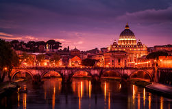 Rome, Italy at dusk. The Tiber River and Vatican City just after sunset Royalty Free Stock Image