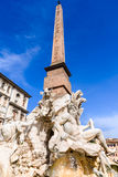 Rome, Italy - Egyptian obelisk in Piazza Navona Stock Photos