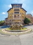Rome Italy - The esoteric district Coppedè. The esoteric quarter of Rome, called `Quartiere Coppedè`, designed by architect Gino Coppedè consisting of royalty free stock photography