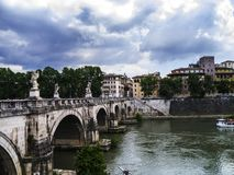 Bridge over the River Tiber in the City of Rome stock photos