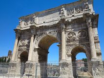 19.06.2017, Rome, Italy, Europe: Famous Arch of Constantine over. 19.06.2017 Rome Italy, Europe: Famous Arch of Constantine over blue sky Royalty Free Stock Photography