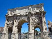 19.06.2017, Rome, Italy, Europe: Famous Arch of Constantine over. 19.06.2017 Rome Italy Europe: Famous Arch of Constantine over blue sky Royalty Free Stock Image