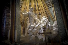 Rome Italy. Famous sculpture by Bernini, ecstasy of St Teresa in. The church of St Maria della Vittoria royalty free stock image