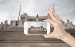 Rome, Italy. Famous Vittoriano with gigantic Royalty Free Stock Photos