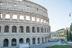 Rome, Italy - February 23, 2019: Rome city with great colosseum, Italy. Rome colosseo architecture in Italy. Travel to rome - capital of italy. Colosseum royalty free stock photos